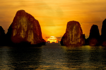 Halong Bay With Sunrise , Vietnam.