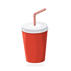 Disposable paper cup with soda and straw