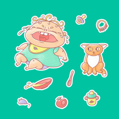Vector set of color illustrations stickers crying child and scared kitten. Baby bottle with water or milk and a plate of porridge, other food. The chubby curly wailing kid and sad red cat