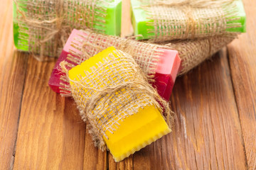 Colored handmade soap in a vintage packaging