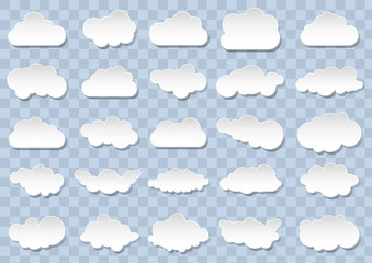 Detailed cloud icons on blue background. 25 different vector clouds. Cloudscape.