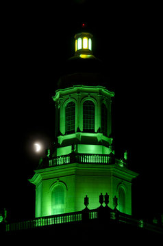 Pat Neff Tower in Green with Eclipse of Moon