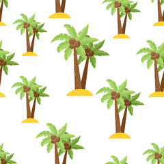 Cute seamless pattern with palms in a Cartoon style.