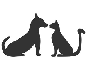 Silhouettes of a cat and a dog