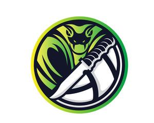 Modern Animal Sports Badge Logo - Cobra Volleyball Team With Knife Symbol