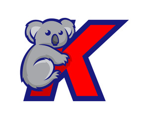 Modern Koala K Letter Alphabet Sports Logo