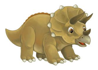 cartoon happy and funny dinosaur dinosaur - triceratops