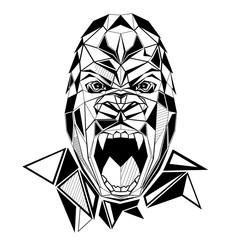 Gorilla stylized triangle polygonal model