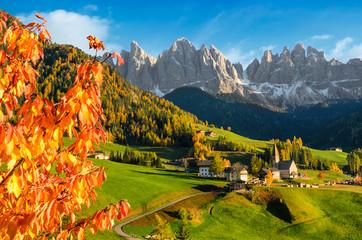 Autumn in the Villnoesstal in the Dolomites