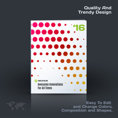 Abstract annual report, business vector template. Brochure design, cover modern layout, flyer in A4 with colourful rounds, circles, dots for holiday, festival, party with light background.