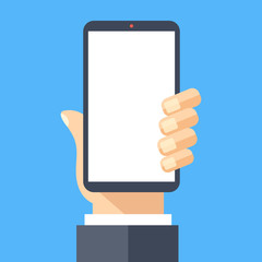 Hand holding black smartphone with white screen. Mobile phone, cellphone and blank screen concept. Modern flat design vector illustration