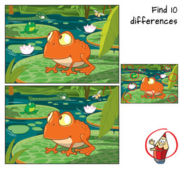 Frog in the tropical swamp. Find 10 differences. Educational game for children. Cartoon vector illustration