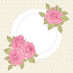 Template greeting card or invitation with roses. Freehand drawing