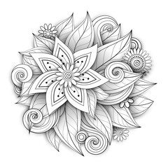 Vector Monochrome Floral Composition in Round Shape