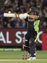Australia's Aaron Finch batting against India during their T20 cricket match at the Melbourne Cricket Ground