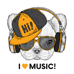 Cute bulldog with headphones. Vector illustration for a postcard or a poster, print for clothes. Pedigree dog. A handsome puppy.