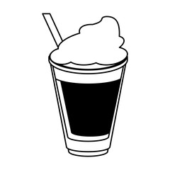 coffee beverage with whipped cream  icon image vector illustration design