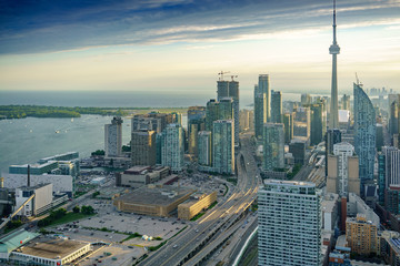 High angle view of buildings, at day, Toronto, Ontario, Canada.