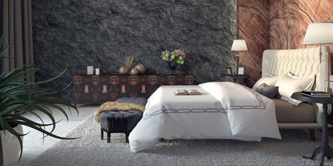 Modern design of bedroom 3d Render