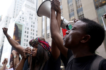 People protest not guilty verdict of St. Anthony Police Department officer Jeronimo Yanez in Manhattan, New York