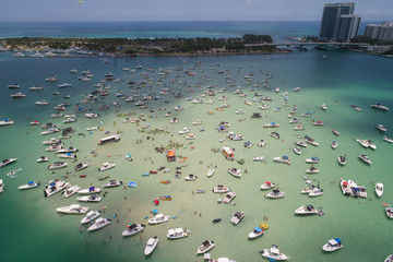 Aerial video Haulover sand bar during Memorial day Weekend