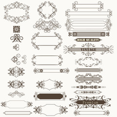Collection of vector decorative frame and flourishes for design