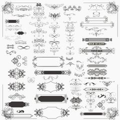 Huge set of vector decorative frame and flourishes for design