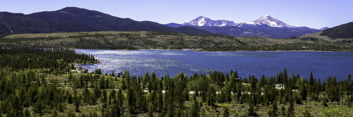 "Panoramic view of ""The Summit"" and Dillon Reservoir near Silverthorne, Colorado, just south of I-70"