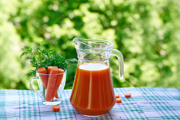 Glass jug of carrot juice and carrots in a glass on a background of green nature.