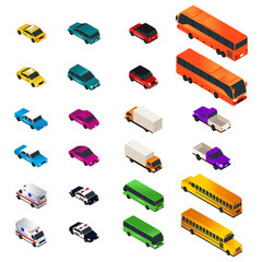 Different Vehicle Designs in Isometric