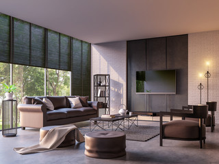 Modern loft living room with nature view 3d rendering image Furnished with dark brown leather and black steel furniture has white brick walls and large windows look out to nature.
