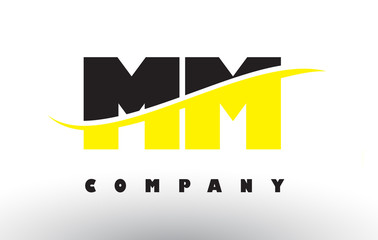 MM M M Black and Yellow Letter Logo with Swoosh.