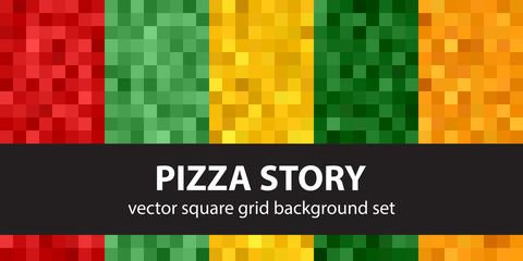 Pixel pattern set Pizza Story. Vector seamless pixel art backgrounds