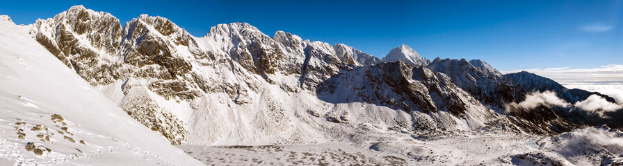 Peaks in the High Tatra mountains in winter.