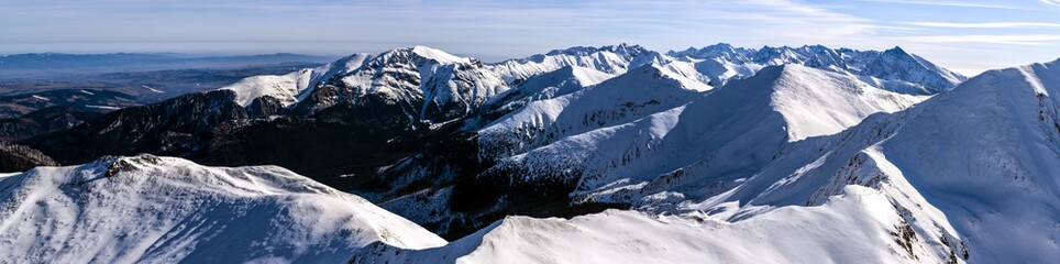 Winter landscape in Tatra ridges.