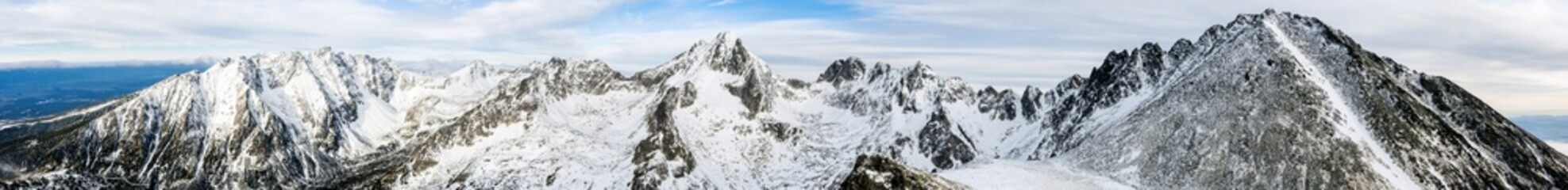 Jagged ridges in the High Tatras in winter.