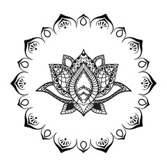 Hand drawn Lotus with mandala frame. Oriental ornaments for greeting card, invitation, yoga poster, coloring book.