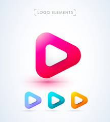 Play icon. Music and video logo elements