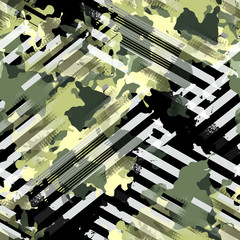 Seamless pattern camouflage design. Striped background with camo elements and watercolor effect. Textile print for bed linen, jacket, package design, fabric and fashion concepts.