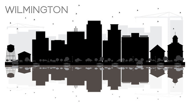 Wilmington City skyline black and white silhouette with reflections.