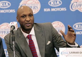 File photo of Odom speaking at a news conference announcing his acquisition by the Los Angeles Clippers in Los Angeles