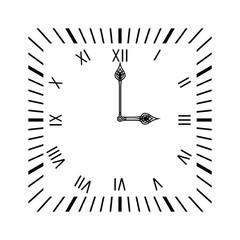 Square clock. Simple clock face with roman numerals