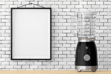 Modern Electric Blender in front of Brick Wall with Blank Frame. 3d Rendering