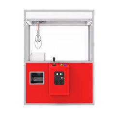 Empty Carnival Red Toy Claw Crane Arcade Machine. 3d Rendering