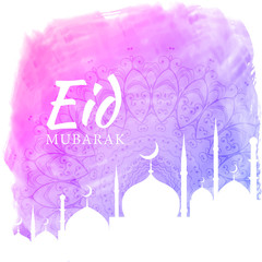 watercolor background for eid festival season with mosque silhouette