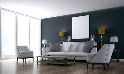 The luxury living room and lounge area and black wall texture