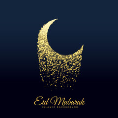 eid festival moon made with glitters