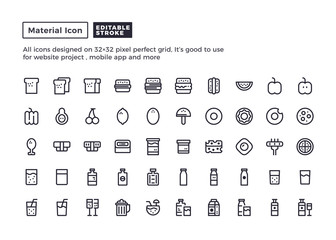 Food and Drink Icon.Material Outline Icons set for website and mobile app ,Pixel perfect icon, Editable Stroke.