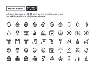 Holiday Icon.Material Outline Icons set for website and mobile app ,Pixel perfect icon, Editable Stroke.