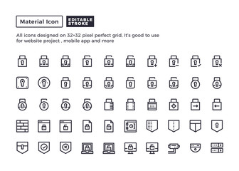 Security and Protection Icon.Material Outline Icons set for website and mobile app ,Pixel perfect icon, Editable Stroke.